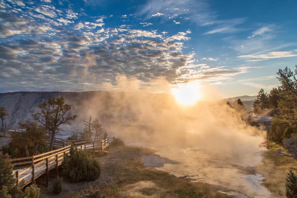 Sunrise, Upper Terrace, Mammoth Hot Springs