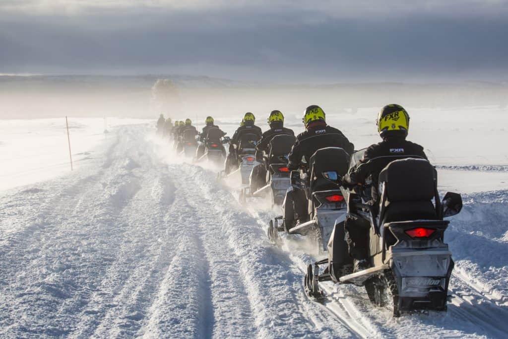 Snowmobile tour at Swan Lake